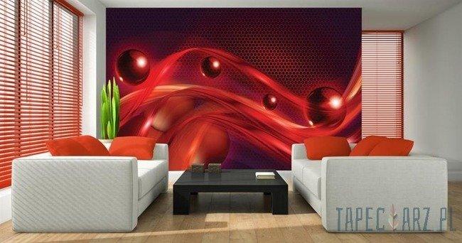 Fototapeta Abstrakcja - czerwona fala i kule 2484