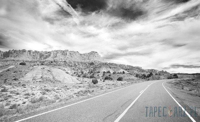Fototapeta Czarno-biały krajobraz - droga 3625
