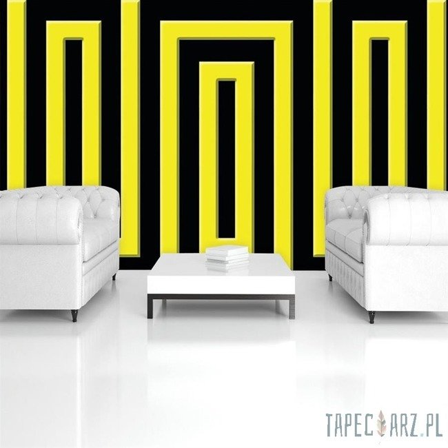Fototapeta Czarno-żółty wzór geometryczny 858
