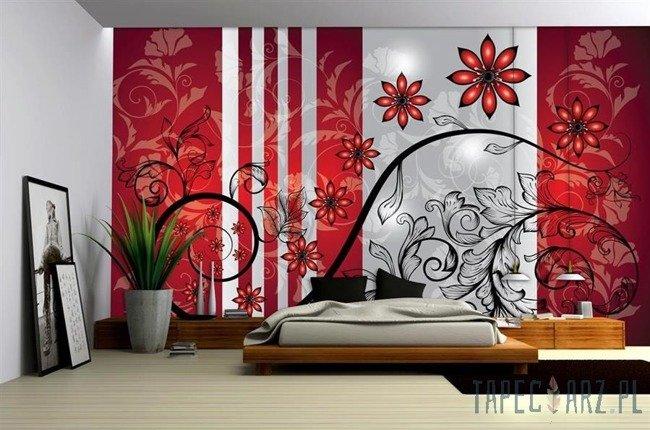 Fototapeta Czerwone kwiatki 1212
