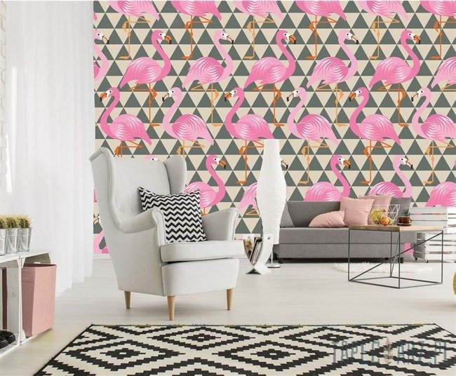 Fototapeta Flamingi na tle trójkątów 11145