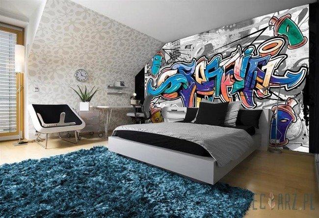Fototapeta Kolorowe graffiti na szarym tle 2294