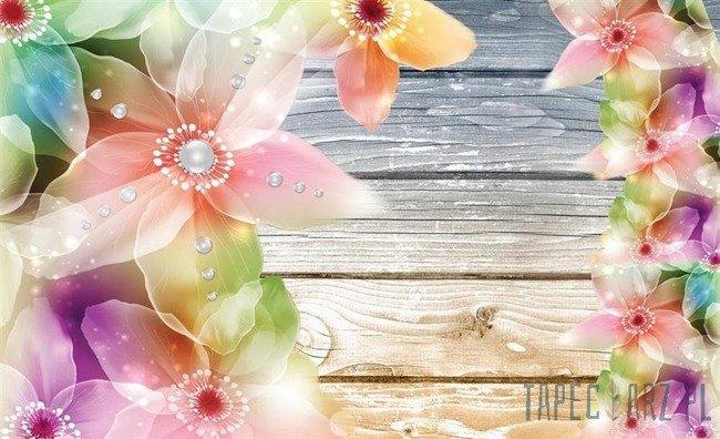 Fototapeta Kwiaty na deskach 3663