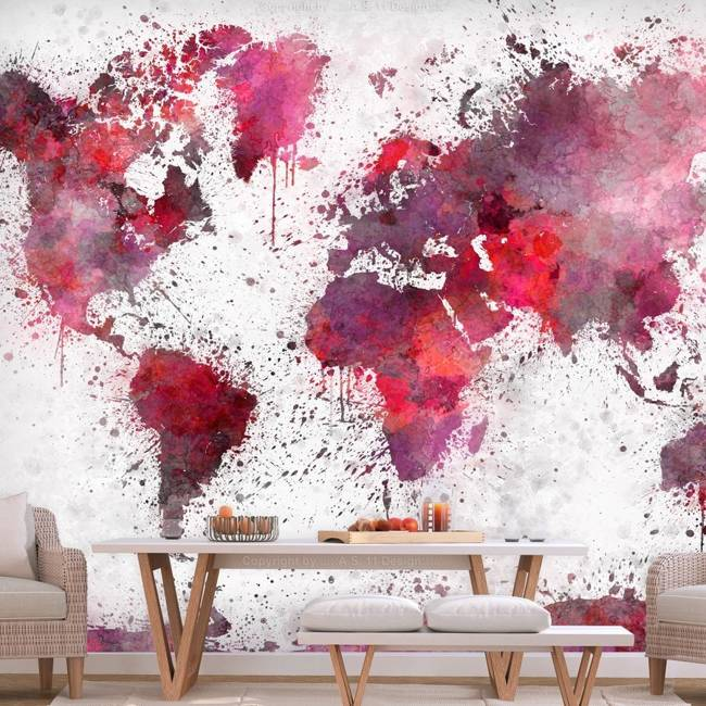 Fototapeta - Mapa świata: czerwone akwarele