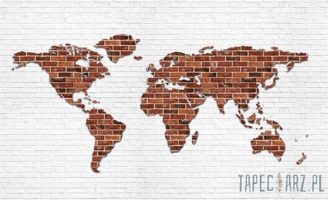 Fototapeta Mapa świata na ceglanej ścianie 2853