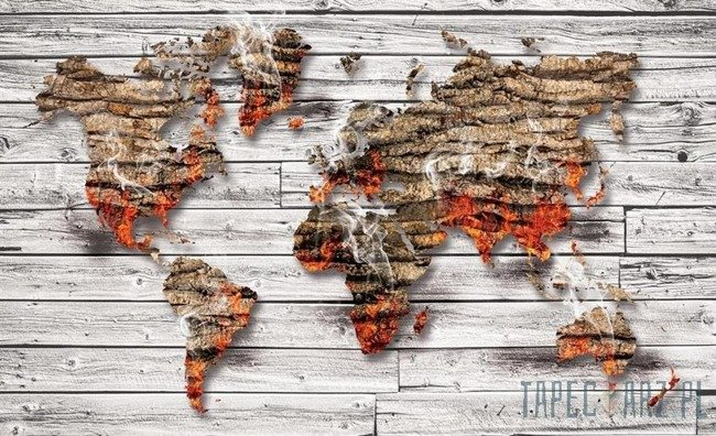 Fototapeta Mapa świata na deskach 3642