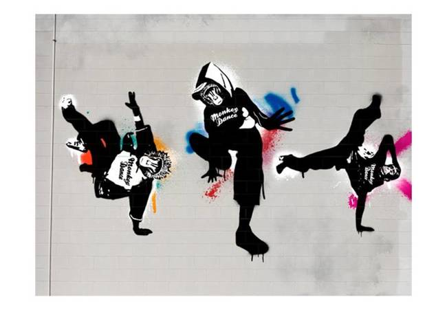 Fototapeta - Monkey dance - street art