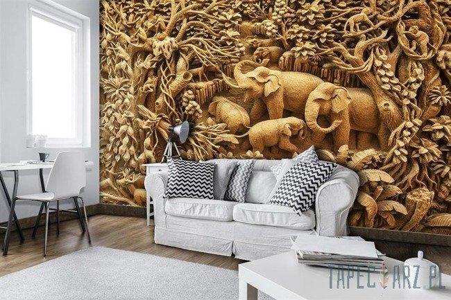 Fototapeta Płaskorzeźba rodziny słoni 3527