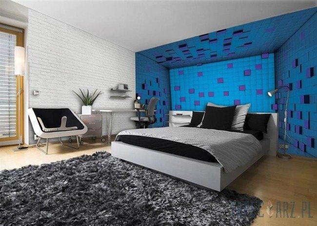 Fototapeta Pokój z niebieskich sześcianów 3D 2580