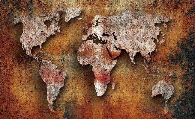 Fototapeta Pordzewiała mapa świata 2892