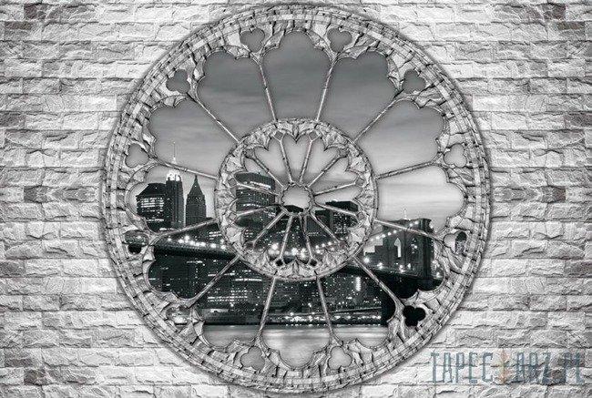 Fototapeta Widok przez okno na czarno-biały Nowy Jork 2106