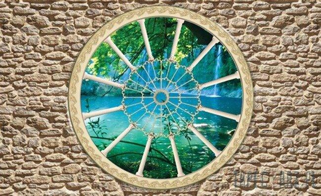 Fototapeta Widok przez okno na wodospad 2088