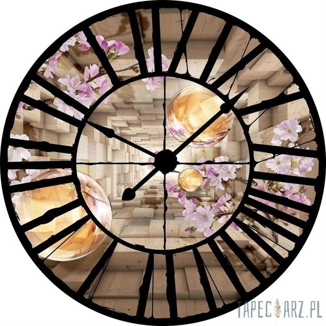 Fototapeta Widok przez zegar na drewniany korytarz z kulami 10217