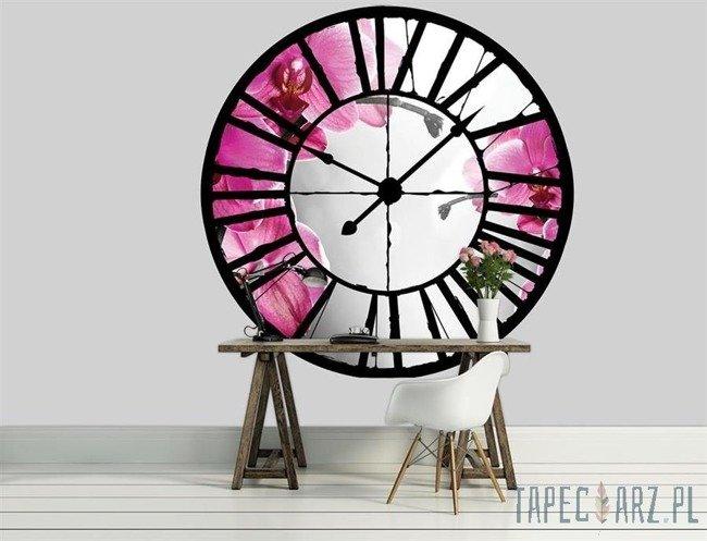 Fototapeta Widok przez zegar na różowy storczyk 10155
