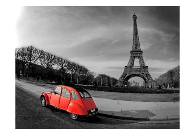 Fototapeta - Wieża Eiffla i czerwony samochód