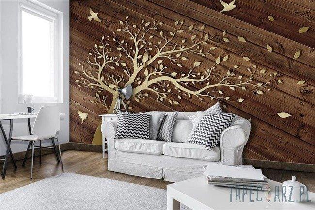Fototapeta Złote drzewo na deskach 3752
