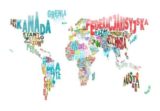 Fototapeta - mapa - świat (po polsku)