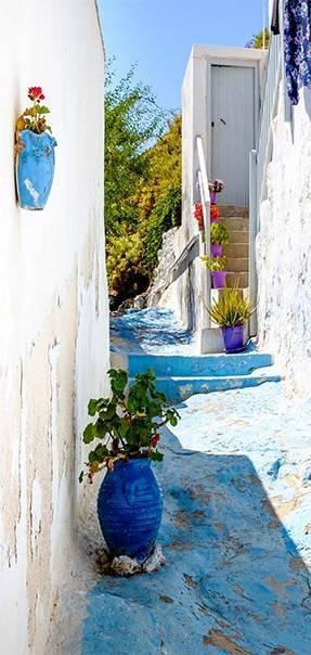 Fototapeta na drzwi - Niebieska uliczka