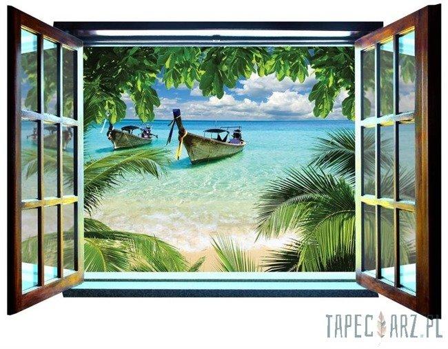 Fototapeta na flizelinie Dzika plaża - Widok przez otwarte okno 826