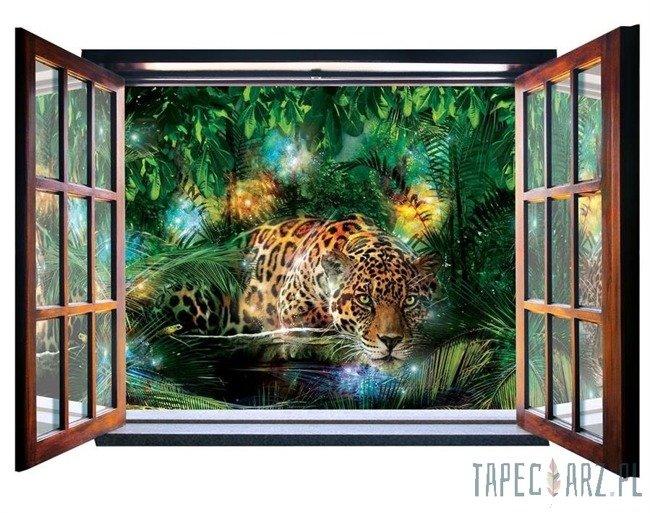 Fototapeta na flizelinie Jaguar w dżungli - Widok przez otwarte okno 10212