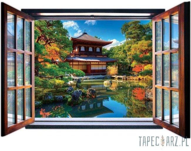 Fototapeta na flizelinie Japoński ogród przez otwarte okno 1058