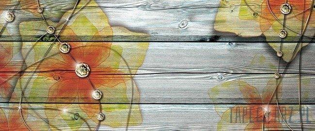 Fototapeta na flizelinie Kwiaty na deskach 3555VEP