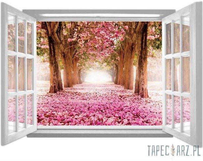 Fototapeta na flizelinie Kwitnąca alejka przez otwarte białe okno 1062