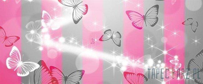 Fototapeta na flizelinie Motyle na szaro-różowych pasach 401VEP