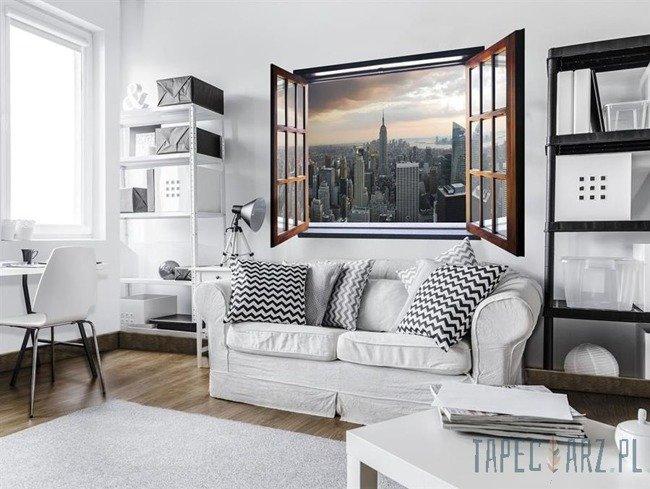 Fototapeta na flizelinie Panorama Nowego Jorku - Widok przez otwarte okno 10149