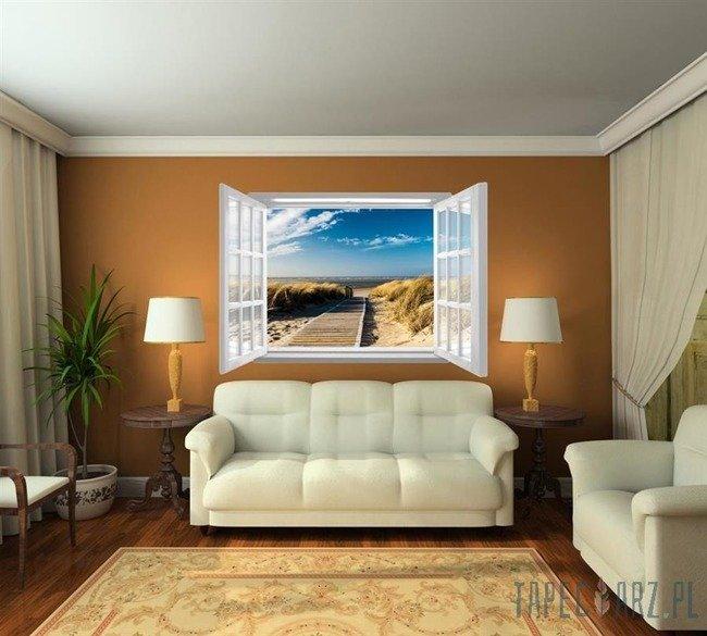 Fototapeta na flizelinie Plaża przez otwarte białe okno 1059