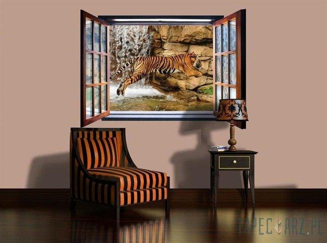 Fototapeta na flizelinie Tygrys przez otwarte okno 2062