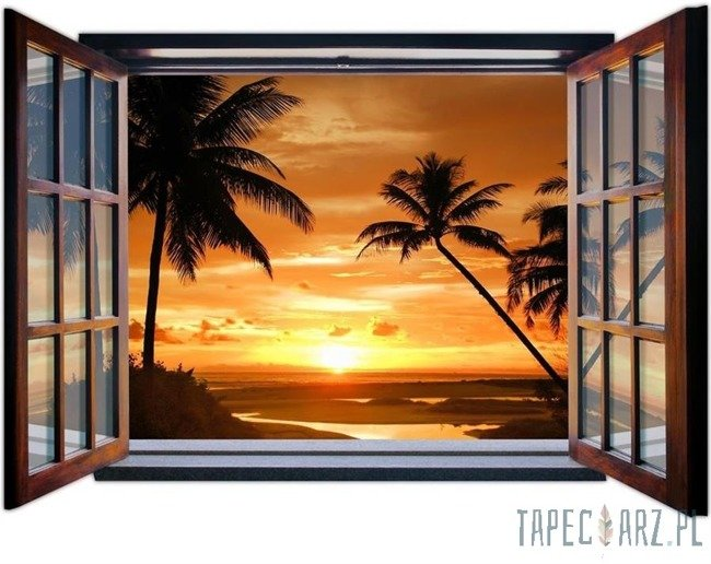 Fototapeta na flizelinie Zachód słońca przez otwarte okno 1056