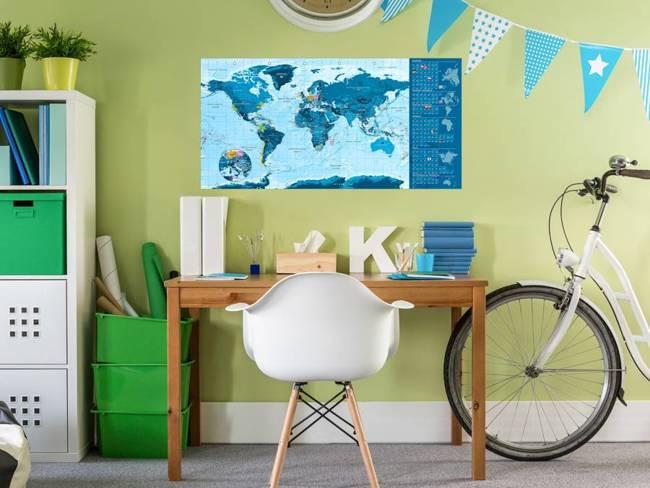Mapa zdrapka - Niebieska mapa - plakat (wersja angielska)