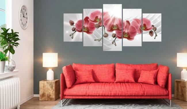 Obraz - Abstrakcyjny ogród: Czerwone storczyki