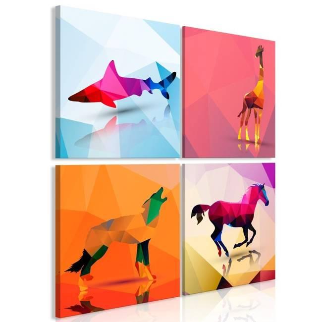 Obraz - Geometryczne zwierzęta (4-częściowy)