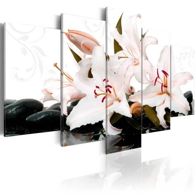 Obraz - Kamienie zen i lilie