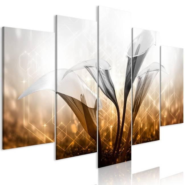 Obraz - Kwiecisty kwartet (5-częściowy) szeroki złoty