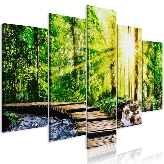 Obraz - Leśna kładka (5-częściowy) szeroki