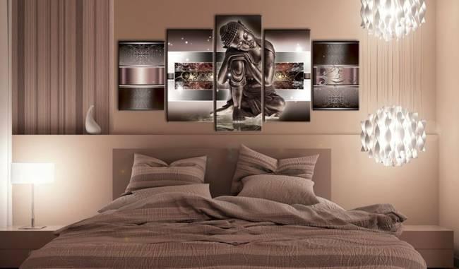 Obraz - Śpiący Budda w czerwieniach