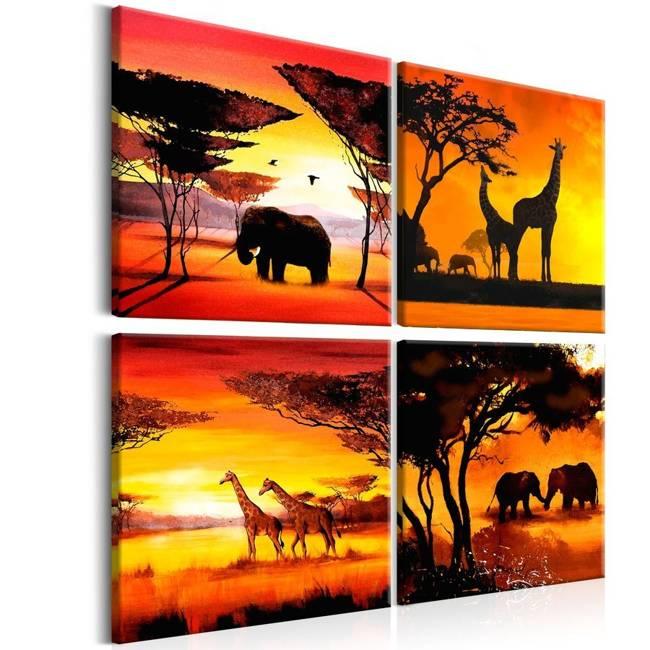 Obraz - Zwierzęta Afryki (4-częściowy)