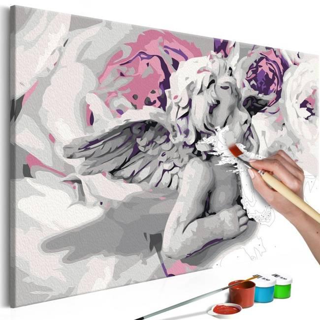Obraz do samodzielnego malowania - Aniołek (kwiaty w tle)