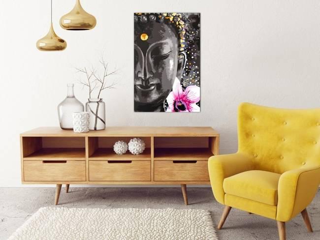 Obraz do samodzielnego malowania - Budda i kwiat