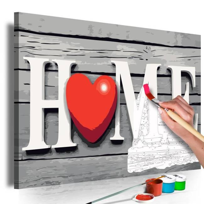 Obraz do samodzielnego malowania - Home z czerwonym sercem