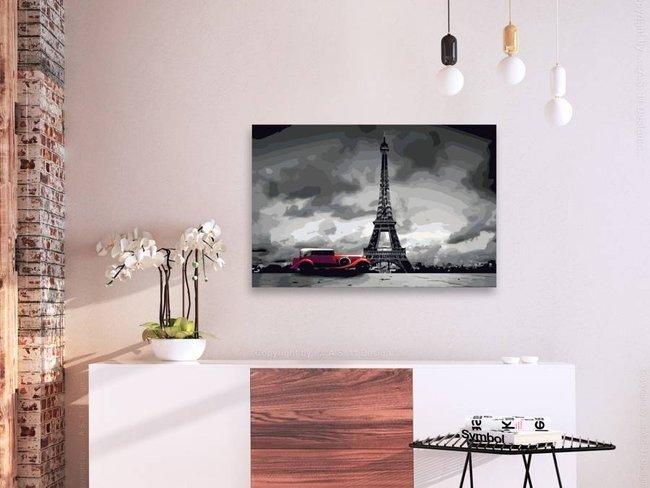 Obraz do samodzielnego malowania - Paryż (Czerwona limuzyna)