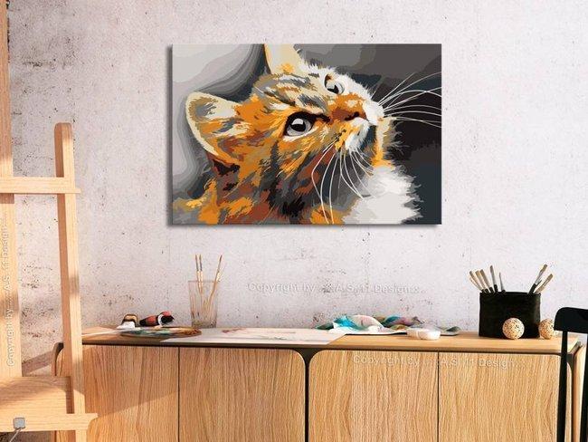 Obraz do samodzielnego malowania - Rudy kot