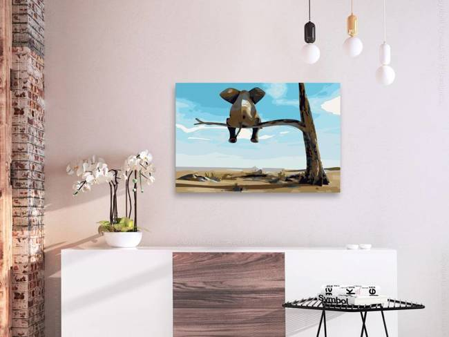 Obraz do samodzielnego malowania - Słoń na drzewie