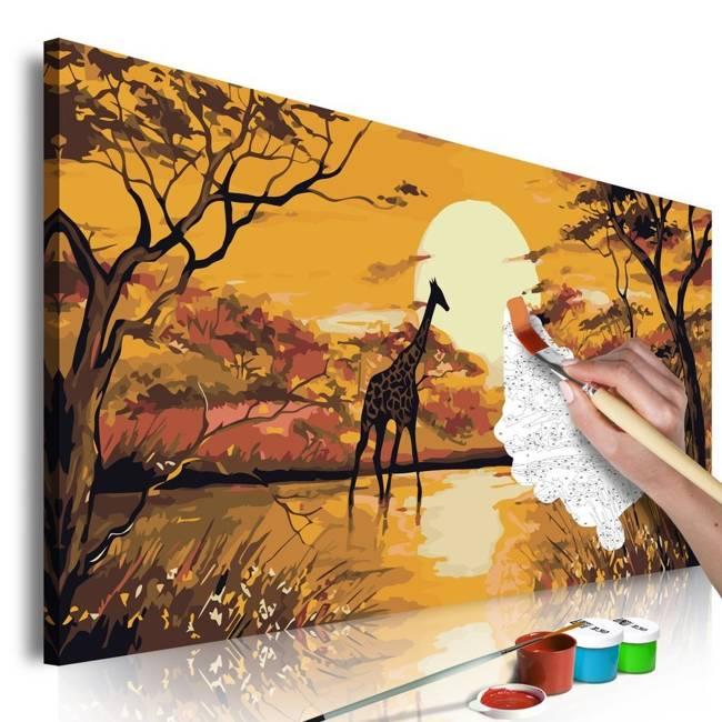 Obraz do samodzielnego malowania - Żyrafa o zachodzie słońca
