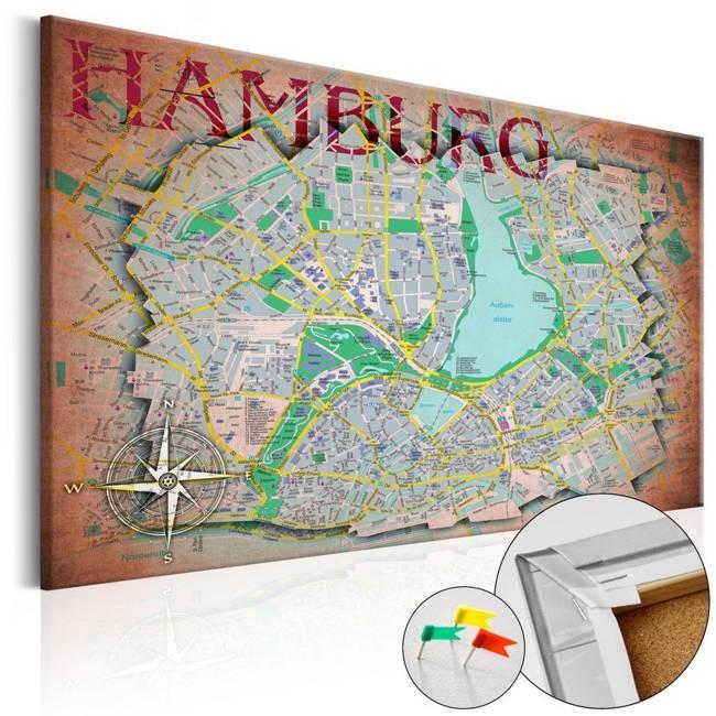 Obraz na korku - Hamburg [Mapa korkowa]
