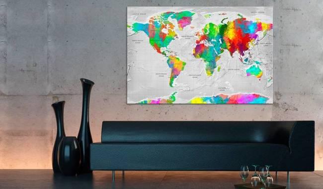Obraz na korku - Mapy: Kolorowa finezja [Mapa korkowa]