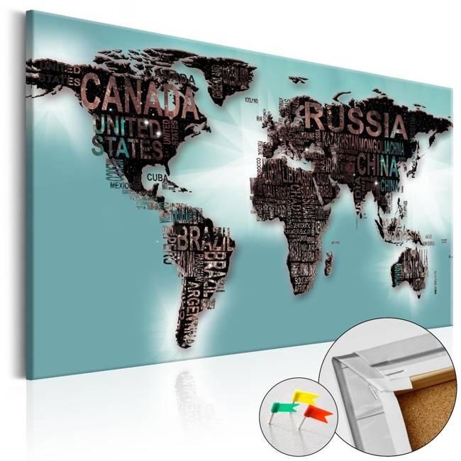 Obraz na korku - Subtelność świata [Mapa korkowa]